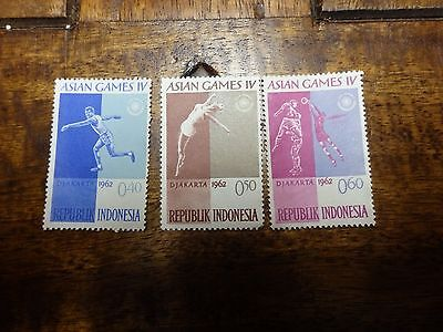 3x INDONESIA 1962 Asian Games IV Stamps