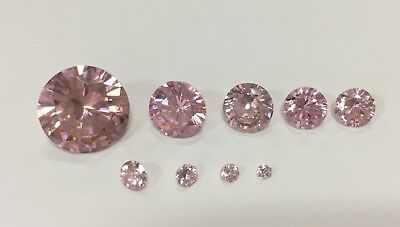 Cubic Zirconia Loose Stone Round shape crystal gem PINK x1 x10 2mm-14mm