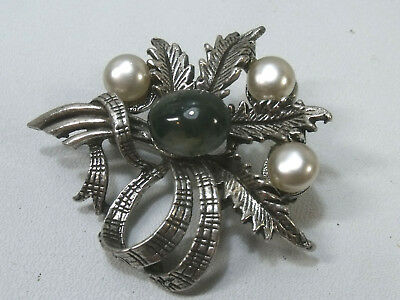 Vintage Silver Toned Scottish Heather  Moss Agate Brooch