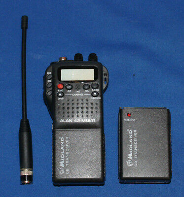 midland alan 42 multi Hand Held cb Radio with accessories and car connector kit
