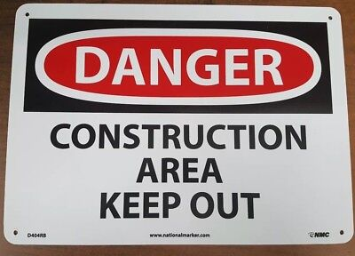 """Danger Construction Area Keep Out 10"""" X 14"""" Plastic Sign"""