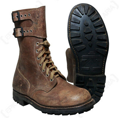 Original French Ranger Brown Combat Boots - Genuine Issued Surplus Army Shoes