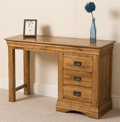 French Rustic Solid Oak Dressing Table 3 Drawer Bedroom Storage Unit Furniture