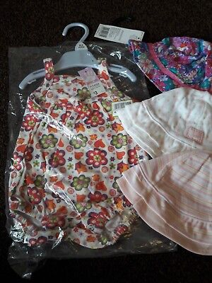 BNWT Baby Girl 0-3 months Swimsuit and Sun Hat