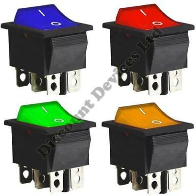 DPDT On-On Momentary 6 Pins 2 Circuits Rocker Switch 15A 250VAC colour Light.