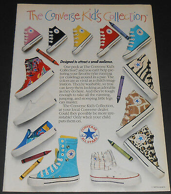1987 vintage print ad - CONVERSE KIDS COLLECTION SHOES 1980's - 1 PAGE ADVERT