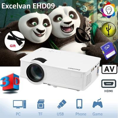 3D Mini LED Projecteur 3000Lumen HD 1080P Home Cinéma HDMI/USB/SD/AV/VGA/3.5mm