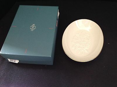 Lenox ivory gold trim vanity tray or dish with embossed pansy design