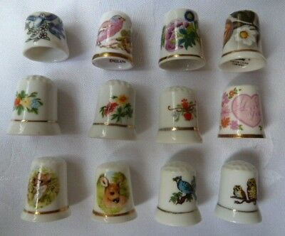 12 Ceramic Collectable Thimbles - 6 Floral, 2 Animals, 4 Birds