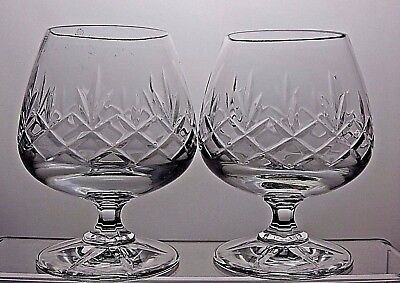 Lovely Cut Glass Lead Crystal Brandy Glasses Set Of 2