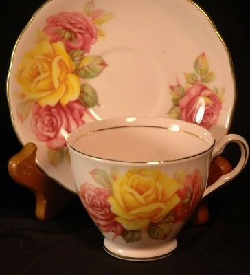 Colclough  Pink with  Yellow and PInk Roses Cup and Saucer