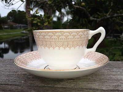 "6 - Crown Staffordshire England Bone China Cup and Saucer ""Tassles &Tassles"""
