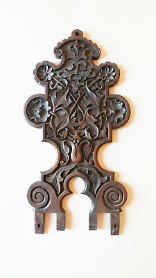 Antique french wood carved mahogany 19 th gothic style