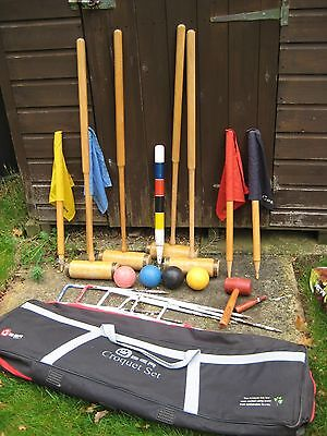 Garden croquet set.  Uber set with Jacques Oxford mallets.