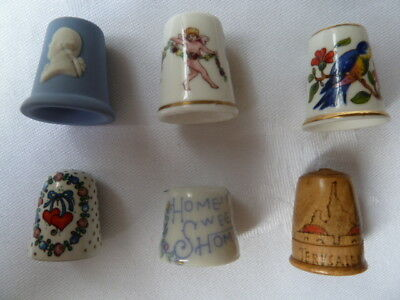 6 Collectable Thimbles - Wedgwood, Aynsley, Worcester, Arta, Jerusalem, Unmarked