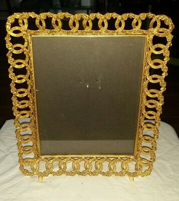Vintage Antique Gold Metal Roses Rings 8X10 Picture Frame Stand Up