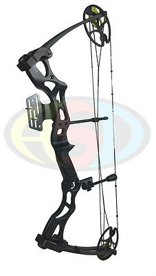 New ASD Pro Series Black Adult Compound Bow Set Kit Adj 40-70lbs 25-31""