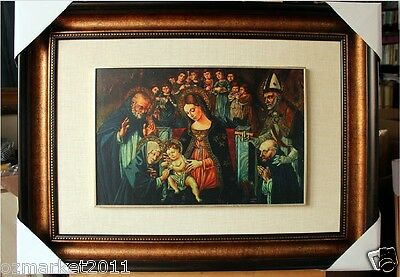 Catholic Church Portrait Jesus Cross Christian Blessed Cloth Frame Decoration O