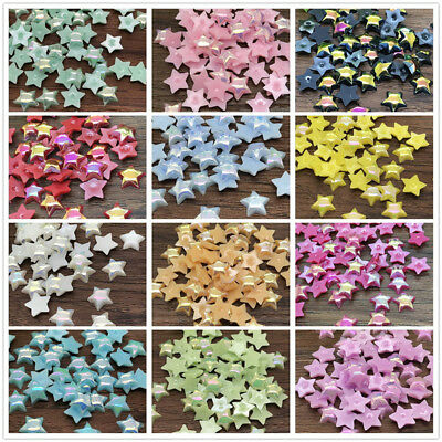 NEW 6mm 10mm smooth Resin Star Beads Flat back Scrapbooking Craft Pick 12 Colour