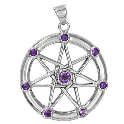 Sterling Silver Large Septagram with Amethyst Fairy Wicca Faerie Magic Jewelry