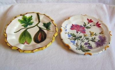 Two Antique Italian Majolica / Faience Plates Painted with Fruit / Flowers: 14cm