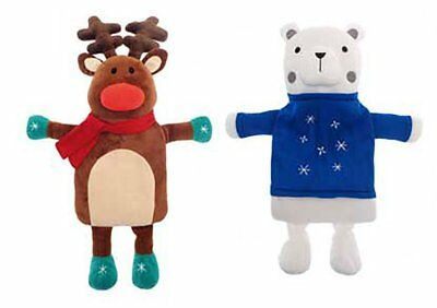 Christmas Winter Hot Water Bottle & Cover - Cute Cuddly Reindeer Or Polar Bear