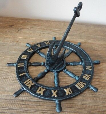 Cast Iron Rustic Style Anchor Boat Ship Wheel Sundial Nautical Garden Ornament