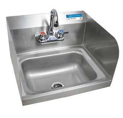 "BK Resources Wall Mount Hand Sink 14""x10"" Bowl w/ Side Splash & Faucet"