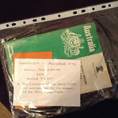 Swansea vs Australia rugby programme and ticket