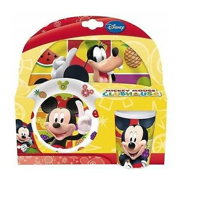 Disney Mickey Mouse Clubhouse 3 Piece Plate Bowl & Cup Set (PMS) *Damaged Box*