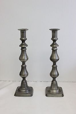 """Pair of Colonial Casting Company Pewter 12"""" Candlesticks Meriden Conn - Set 1"""