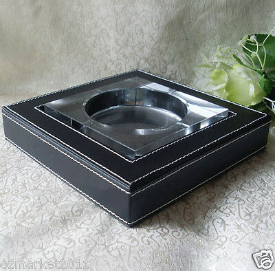 Fashion Simple L18.5CM*W18.5CM*H3.8CM Pure Black Leather Base Crystal Ashtray