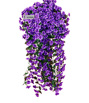 New Bunches of Artifical Violet Bracketplant Hanging Garland Vine Flower