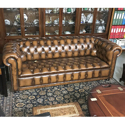 3 Seater Chesterfield Sofa in Tan Leather - Inadam Furniture