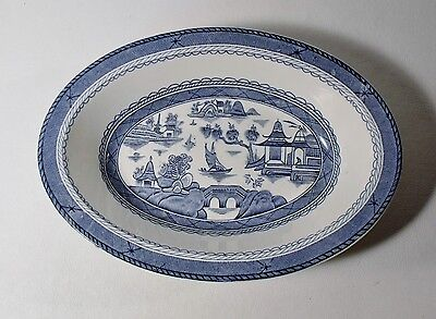 "Wood & Sons CANTON BLUE 10"" Oval Vegetable Bowl EXCELLENT"