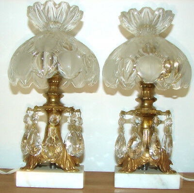 2 Vintage Crystal Boudoir Lamps Beautiful Condition w/Crystal Prisms Marble Base