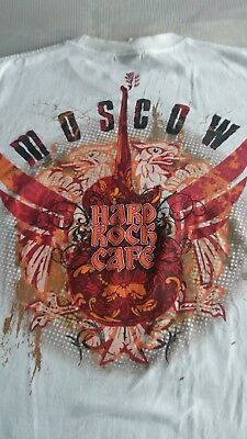 HARD ROCK CAFE MOSCOW RUSSIA T-SHIRT Medium Rare Authentic H.R.C.Bright White