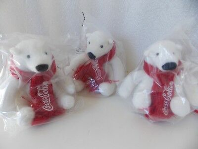 "NEW Lot of 3 Coca-Cola Polar Bears 4"" tall with Red Scarf"