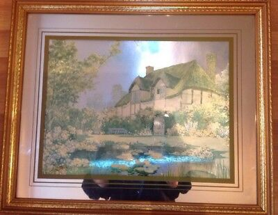 Pictures Of A Cottage Behind Glass Surround And Frame. Unusual