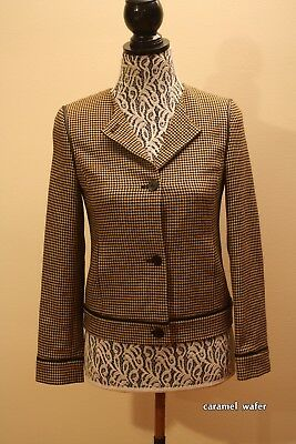 Vintage EPISODE Camel/Black Houndstooth Wool Blend Blazer Jacket Leather Trim S2
