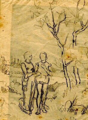 DRAWING OF A COUPLE - PRE RAPHAELITE - DIKEOS COLLECTION 19th century