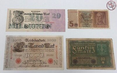 Germany nice lot 4 different banknotes