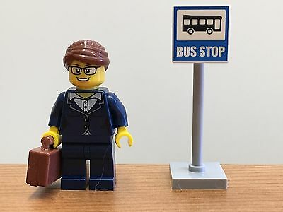 1x LEGO Female Mini-figure & Bus Stop Sign (from set 60134) - NEW (MF22)
