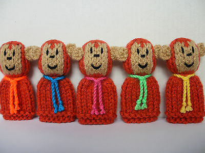 5 Little Monkeys - Hand Knitted Finger Puppet Toys / Animals - NEW