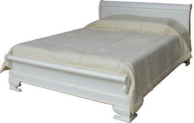 SALE 6' Super King Sleigh Bed Solid Mahogany Antique White Low Footboard B010P