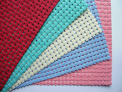 5 x Binca - 5 count (HPI) - each 12 cm x 16 cm - Red, Pink, Cream, Green, Blue