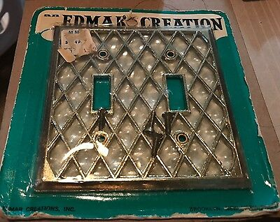 1 Edmar Creations NOS Double Wall Switch Plate Cover Brass and Pearl