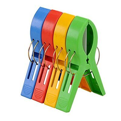 TRIXES Pack of 4 Large Bright Colour Plastic Beach Towel Pegs Clips to Sunbed