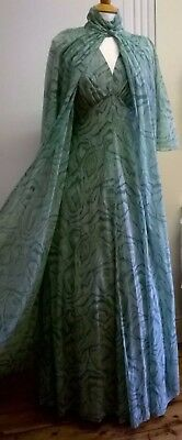 Vintage Carnegie of London 1970s  long evening dress and matching sheer coat