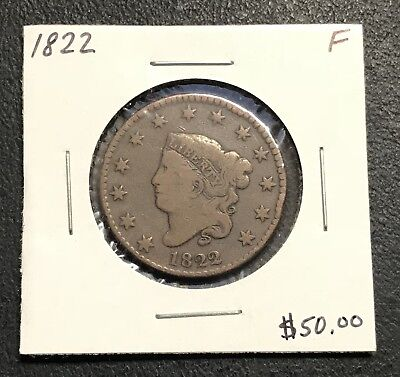 1822 U.s. Coronet Head Large Cent ~ Fine Condition! $2.95 Max Shipping! C184